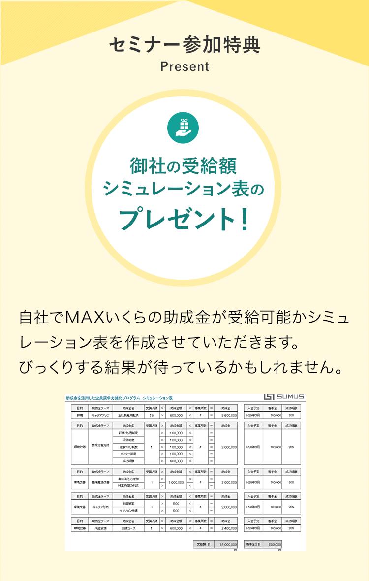 セミナー参加特典 御社の受給額シミュレーション表のプレゼント 自社でMAXいくらの助成金が受給可能かシミュレーション表を作成させていただきます。びっくりする結果が待っているかもしれません。